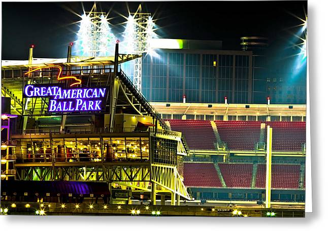 Ohio Red Greeting Cards - Great American Ballpark Greeting Card by Keith Allen