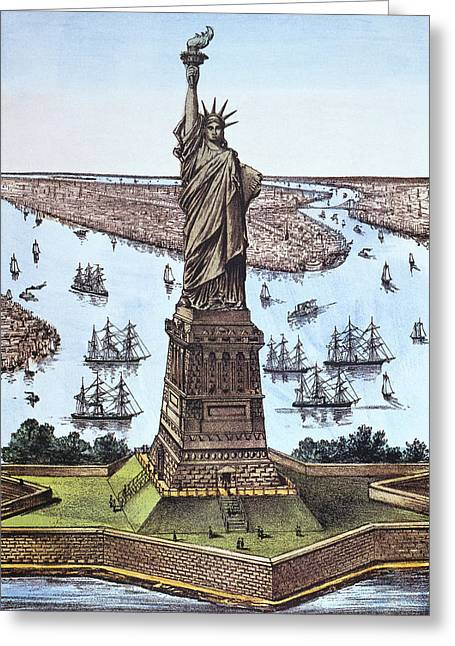 Bartholdi Greeting Cards - Great Bartholdi Statue Greeting Card by Granger
