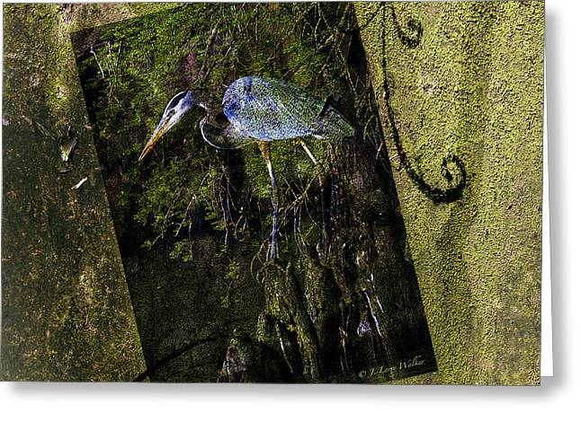 Great Blue Heron - Abstract Greeting Card by J Larry Walker