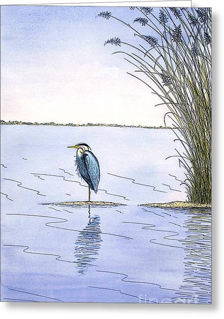 Great Birds Mixed Media Greeting Cards - Great Blue Heron Greeting Card by Charles Harden