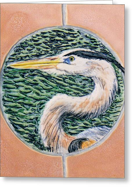 Wildlife Ceramics Greeting Cards - Great Blue Heron Greeting Card by Dy Witt