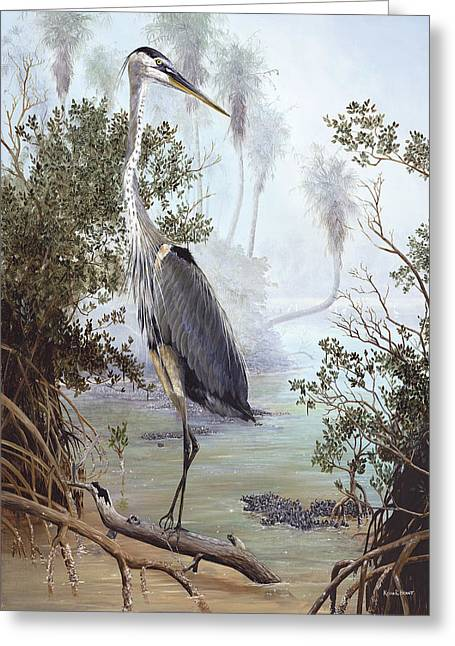 Kevin Brant Greeting Cards - Great Blue Heron Greeting Card by Kevin Brant