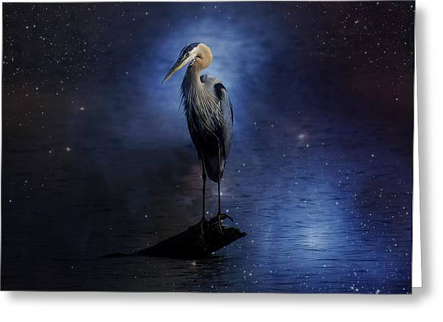 Waterscape Digital Art Greeting Cards - Great Blue Heron On A Starry Night Greeting Card by J Larry Walker