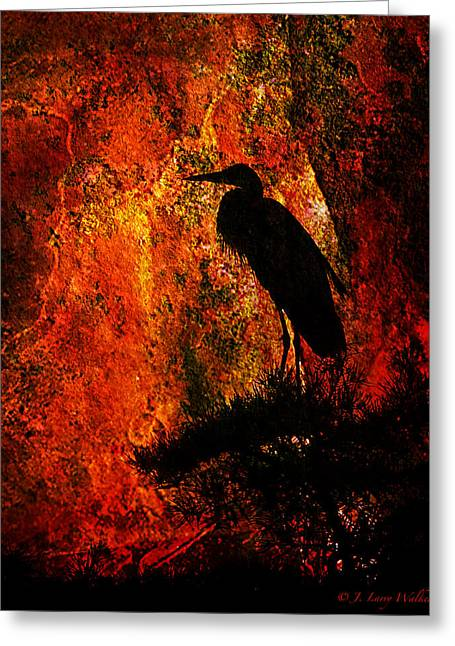 Silhouette Digital Art Greeting Cards - Great Blue Heron Sitting High Greeting Card by J Larry Walker
