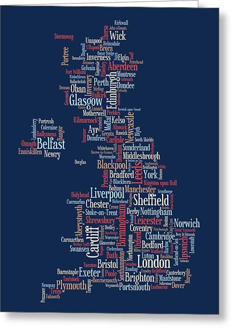 Cartography Digital Art Greeting Cards - Great Britain UK City text Map Greeting Card by Michael Tompsett