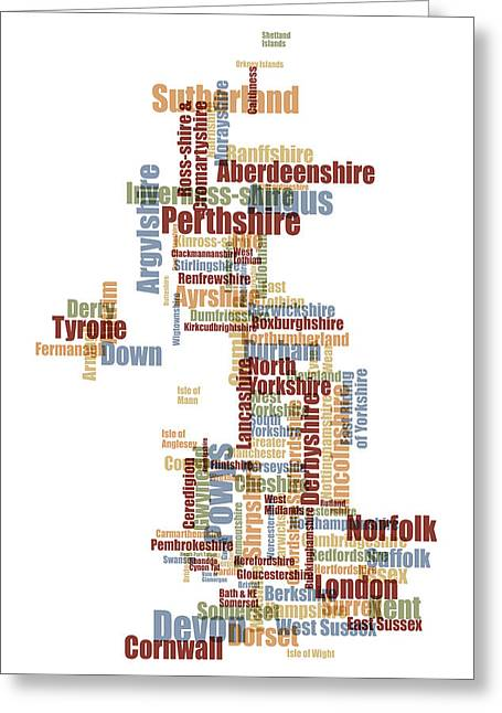 """united Kingdom"" Greeting Cards - Great Britain UK County Text Map Greeting Card by Michael Tompsett"