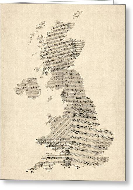 Music Score Digital Art Greeting Cards - Great Britain UK Old Sheet Music Map Greeting Card by Michael Tompsett