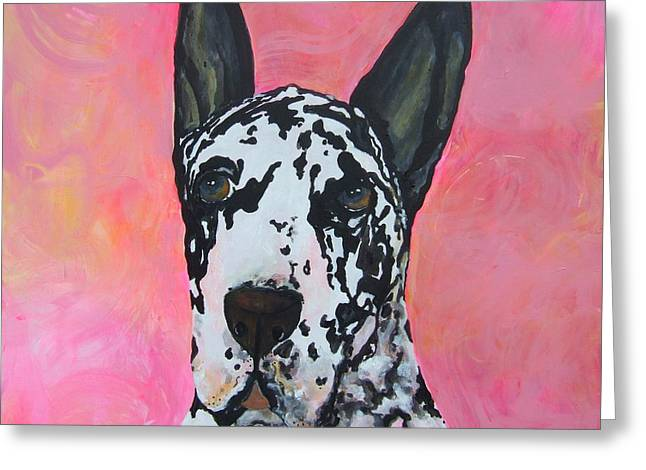 Art In Acrylic Greeting Cards - Great Dane Greeting Card by Deb Magelssen