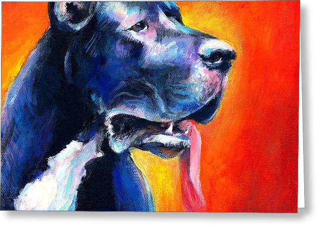 Great Dane dog portrait Greeting Card by Svetlana Novikova