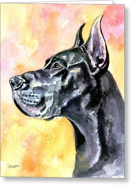 Puppies Paintings Greeting Cards - Great Dane Greeting Card by Lyn Cook