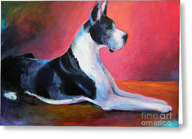 Canine Posters Greeting Cards - Great Dane painting Svetlana Novikova Greeting Card by Svetlana Novikova