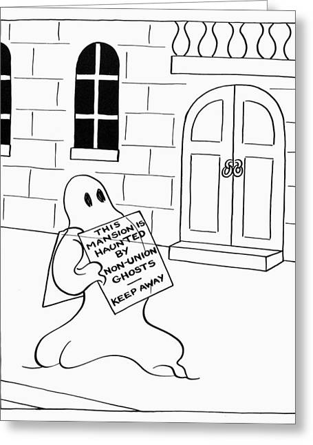 Haunted Mansion Greeting Cards - Great Depression Cartoon Greeting Card by Granger