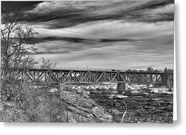 Androscoggin Greeting Cards - Great Falls RR Bridge 10477b Greeting Card by Guy Whiteley