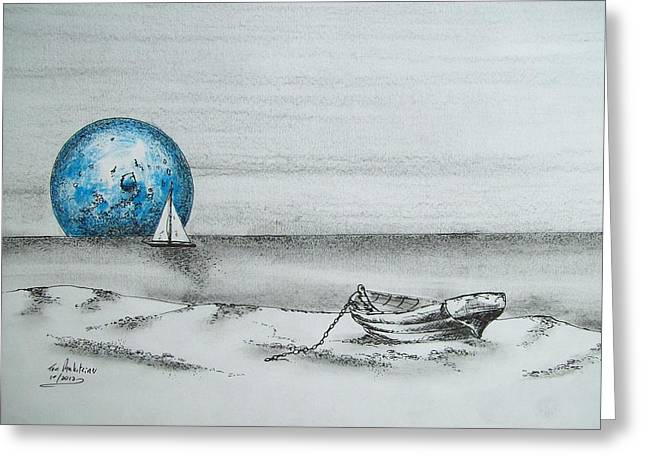 Moon Beach Drawings Greeting Cards - Great Fishing Spot Greeting Card by Tom Rechsteiner