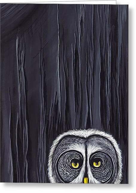 Barnyard Owl Greeting Cards - Great Gray Owl Greeting Card by David Junod