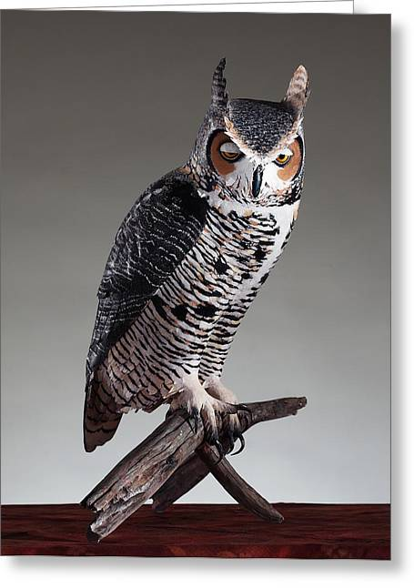 Great Sculptures Greeting Cards - Great Horned Owl Greeting Card by Monte Burzynski