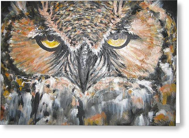 GREAT HORNET OWL Greeting Card by Sandra Peyrolle