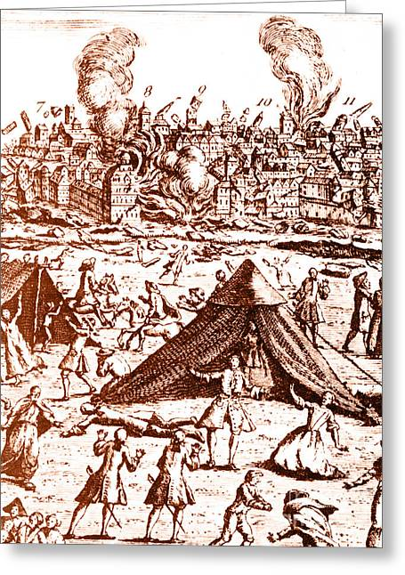 Women. Eighteenth Century Greeting Cards - Great Lisbon Earthquake, 1755 Greeting Card by Science Source