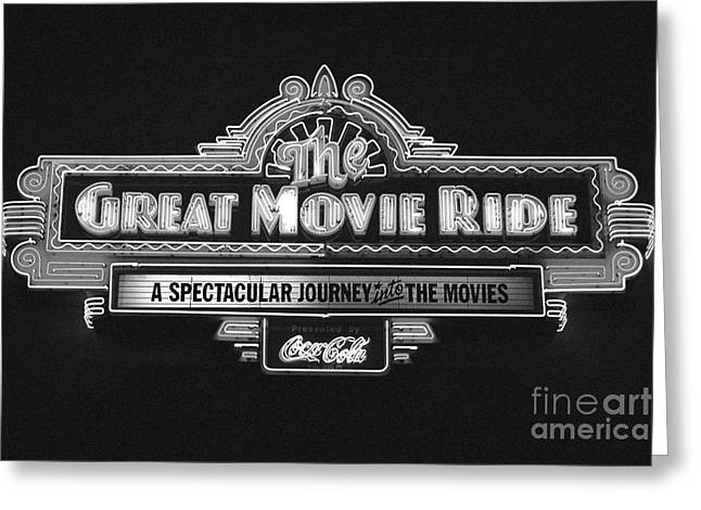 Walt Disney World Greeting Cards - Great Movie Ride Neon Sign Hollywood Studios Walt Disney World Prints Black and White Film Grain Greeting Card by Shawn O
