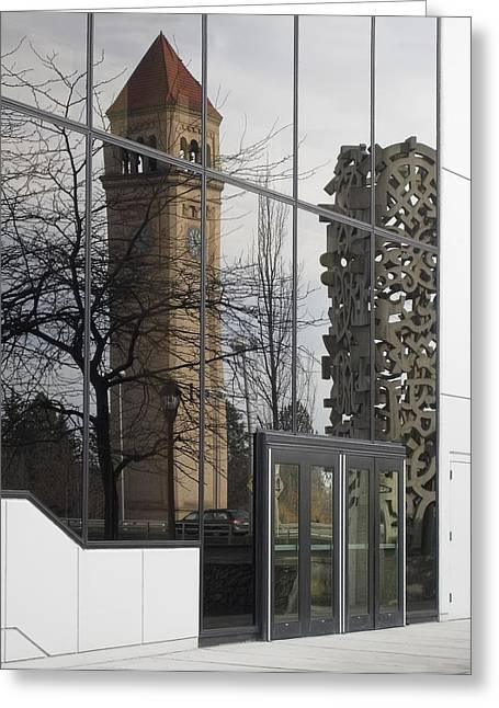 Spokane Greeting Cards - Great Northern Clocktower Reflection - Spokane Washington Greeting Card by Daniel Hagerman