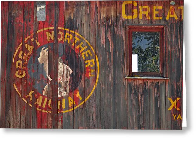 Boxcars Greeting Cards - Great Northern Railway Old Boxcar Greeting Card by Bruce Gourley
