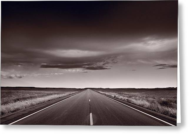 Road Greeting Cards - Great Plains Road Trip BW Greeting Card by Steve Gadomski