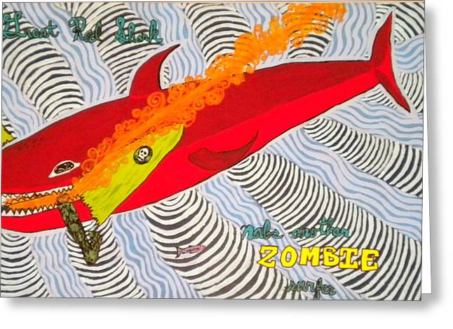 White Shark Paintings Greeting Cards - Great Red Shark Greeting Card by Nick Reaves