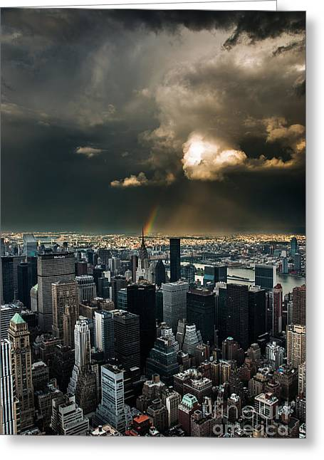 Hannes Cmarits Greeting Cards - Great Skies over Manhattan Greeting Card by Hannes Cmarits