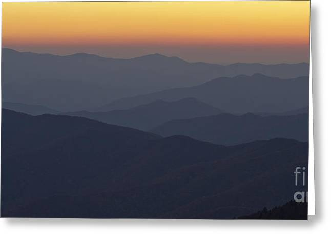 Clingmans Dome Greeting Cards - Great Smokie Mountains at Sunset Greeting Card by Dustin K Ryan