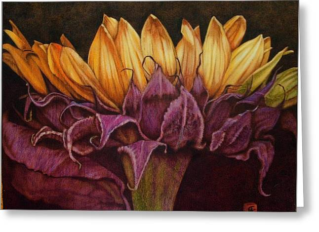 Flower Still Life Pyrography Greeting Cards - Great Sunflower Greeting Card by Cynthia Adams