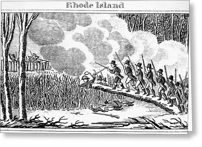 Wampanoag Greeting Cards - Great Swamp Fight, 1675 Greeting Card by Granger