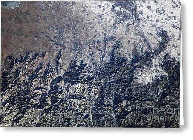 Aerial Photograph Greeting Cards - Great Wall Of China Greeting Card by NASA/Science Source