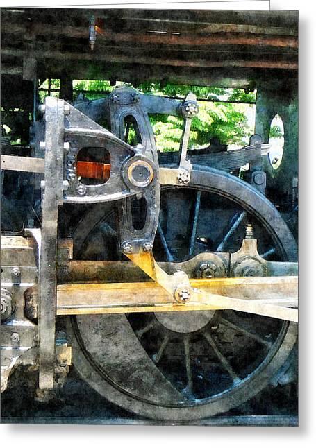 Railway Greeting Cards - Great Western 90 Wheel Closeup Greeting Card by Susan Savad
