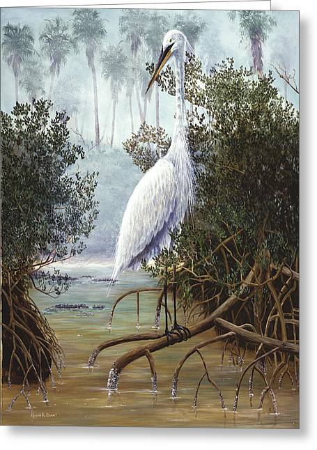 Kevin Brant Greeting Cards - Great White Heron Greeting Card by Kevin Brant