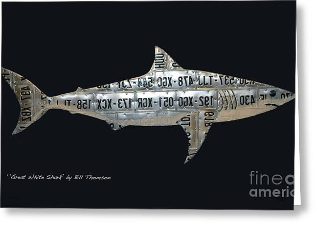 White Shark Mixed Media Greeting Cards - Great White Shark Greeting Card by Bill  Thomson