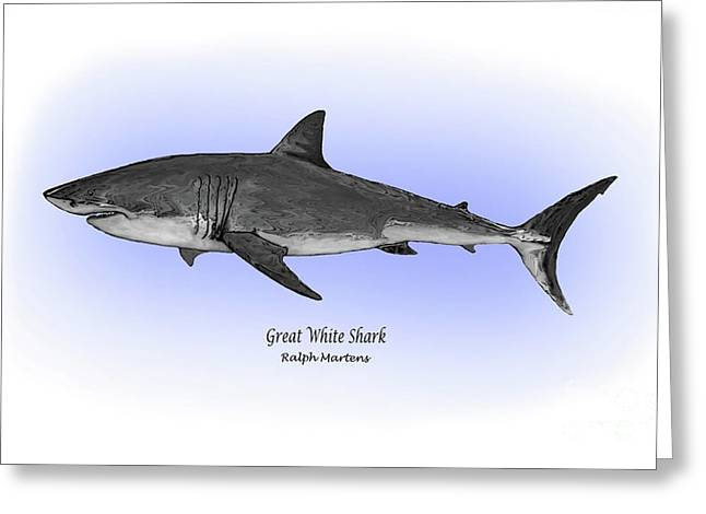 White Shark Drawings Greeting Cards - Great White Shark Greeting Card by Ralph Martens