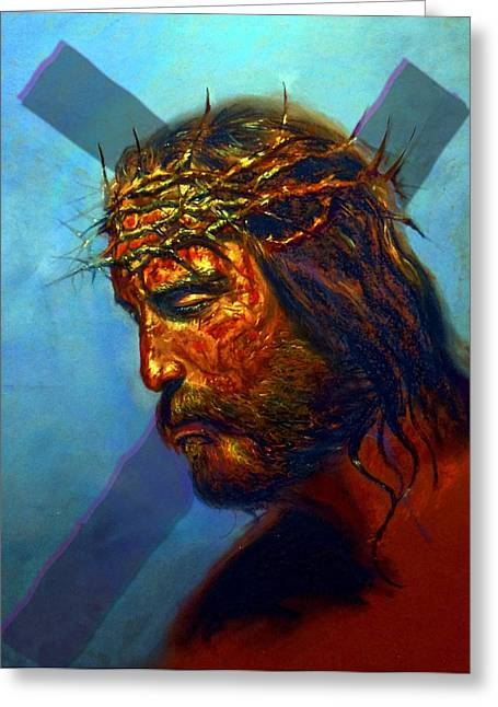 Christ Pastels Greeting Cards - Greater love hath no man Greeting Card by Tommy  Winn