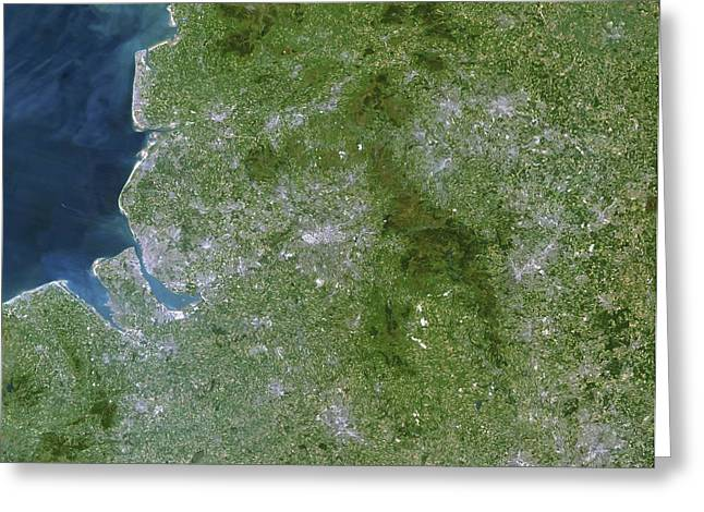 Port Town Greeting Cards - Greater Manchester, Satellite Image Greeting Card by Planetobserver