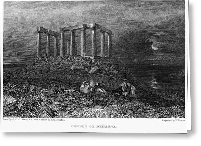 Temple Of Athena Greeting Cards - Greece: Cape Sounion, 1832 Greeting Card by Granger