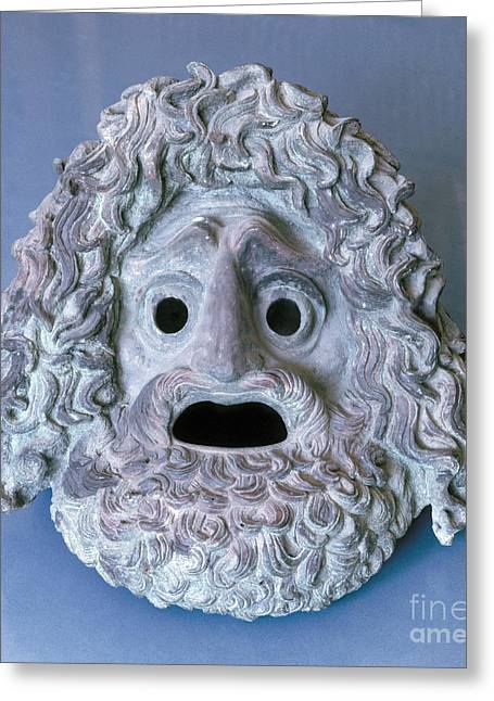 Greek Sculpture Greeting Cards - Greece: Theatrical Mask Greeting Card by Granger