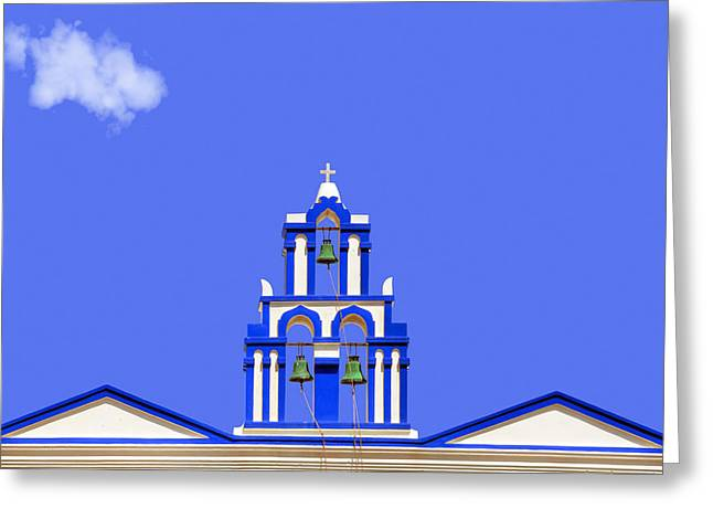 Bell Tower Greeting Cards - Greek Bell Tower Greeting Card by Joana Kruse