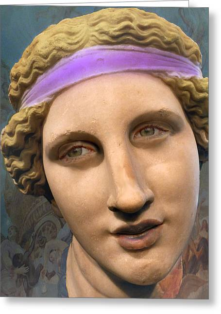 Greek Sculpture Mixed Media Greeting Cards - Greek beuaty Greeting Card by E  Kraizberg