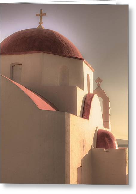 Evening Lights Greeting Cards - Greek Church Greeting Card by Joana Kruse