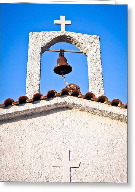 Sacred Photographs Greeting Cards - Greek church Greeting Card by Tom Gowanlock