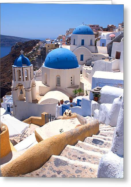 Greek Churches And Steps Greeting Card by Paul Cowan