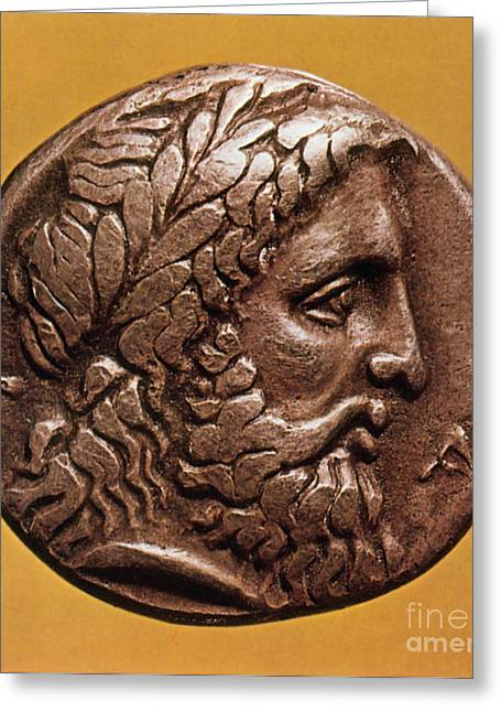 Coins Greeting Cards - Greek Coin With Zeus Greeting Card by Photo Researchers