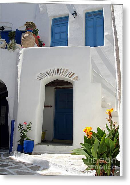 Stucco Greeting Cards - Greek doorway Greeting Card by Jane Rix