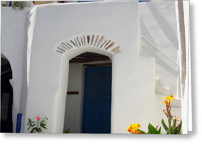 Greek doorway Greeting Card by Jane Rix