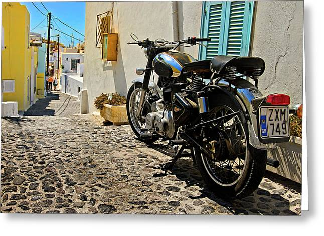 Chrome Greeting Cards - Greek Island Royal Enfield Greeting Card by Meirion Matthias