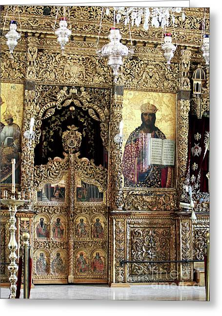 Religious Art Photographs Greeting Cards - Greek Orthodox Alter Greeting Card by John Rizzuto